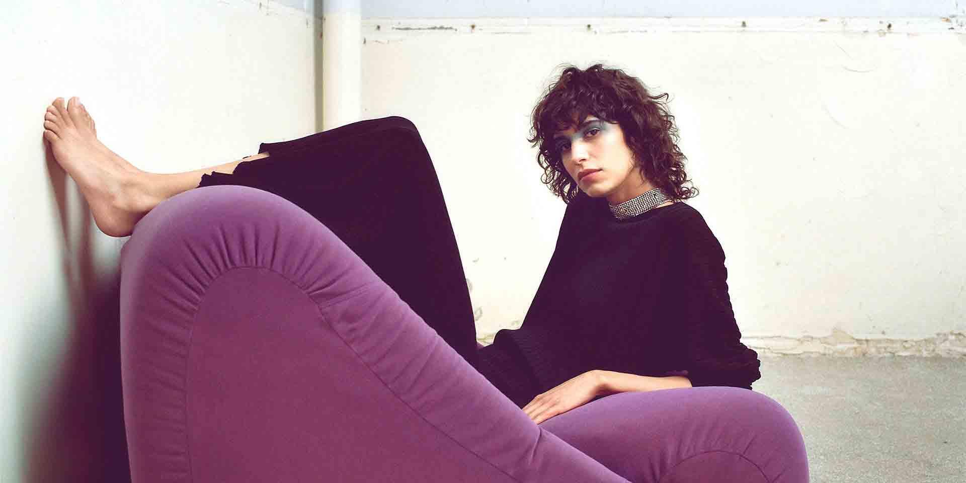 Clean Lines Purple Sofa